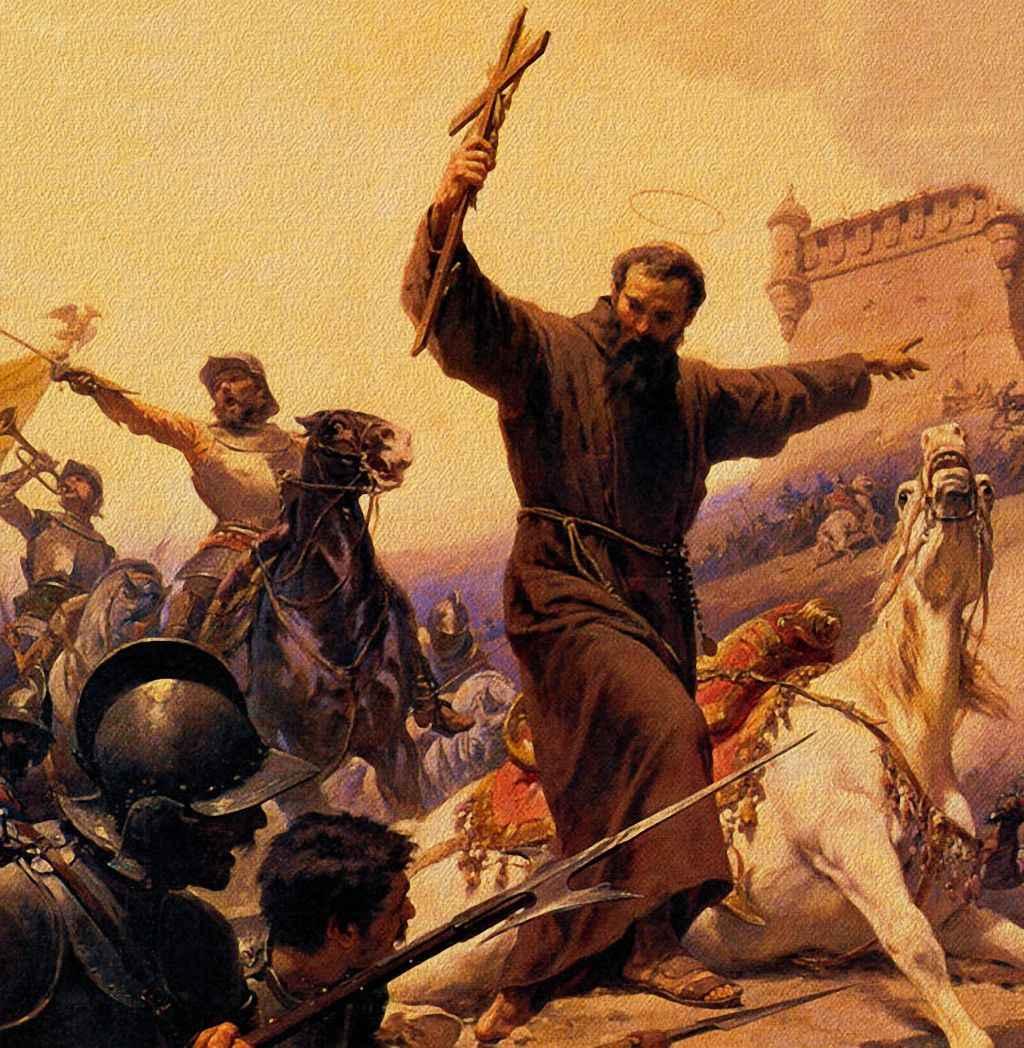 São Lourenço de Brindisi com crucifixo à mão ordena atacar
